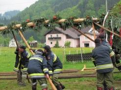 Das Maibaum-Aufstellen hat im Salzkammergut Tradition