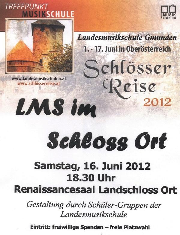"""Landesmusikschule Gmunden spielt bei """"Schlösserreise 2012"""" im Renaissancesaal des Landschlosses Ort"""