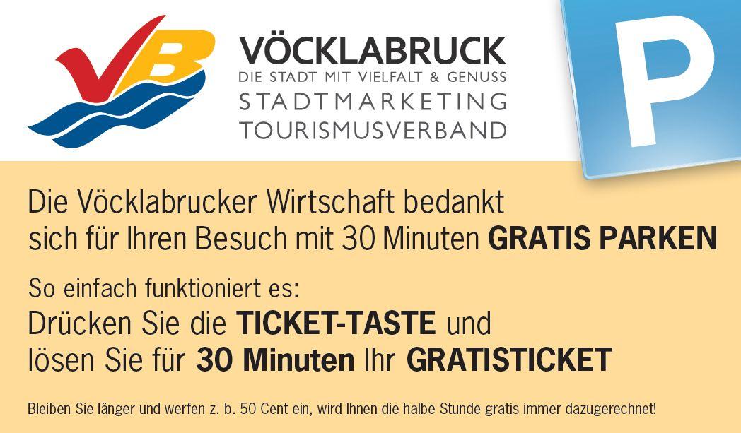30 Minuten Gratis Parken im Innenstadtbereich von Vöcklabruck