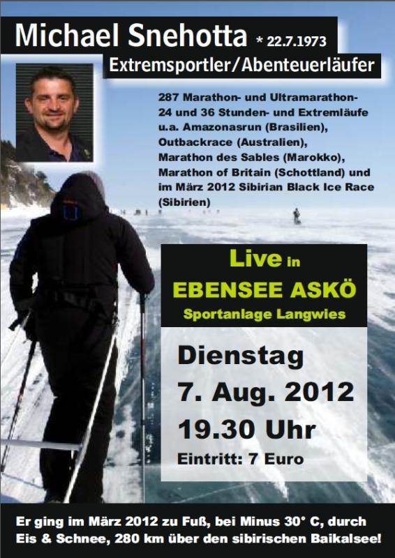 Bei Minus 30 Grad nonstop über den Baikalsee - Extremsportler Michael Snehotta in Ebensee