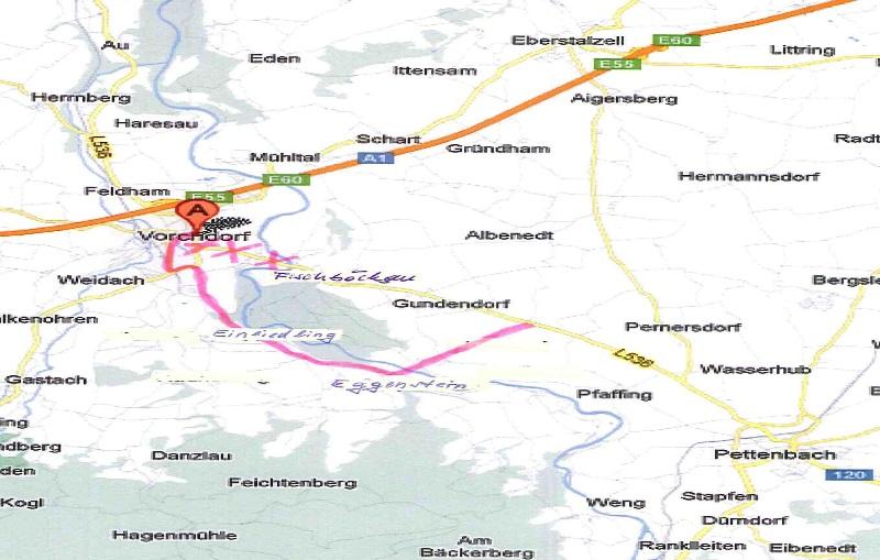 Vorchdorf: großräumige Umleitung auf der L 536 Pettenbacher-Straße
