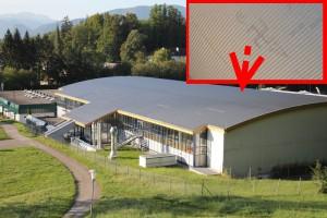Hakenkreuz auf Gmundner Eishallendach geschmiert
