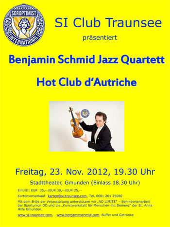 Benefizkonzert SI Club Traunsee Hot Club d´Autriche jazzt im Stadttheater Gmunden