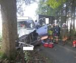 Lkw prallte gegen Baum (1)