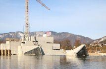 Mit dem ersten Aufstau geht die Fertigstellung des Wasserkraftwerks Bad Goisern ins Finale. Fotorechte: © Energie AG