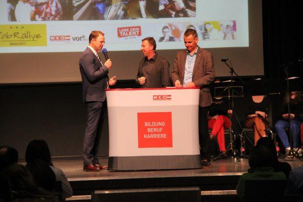 Obmann Martin Ettinger, Moderator Mario Sacher und BST-Leiter Robert Oberfrank