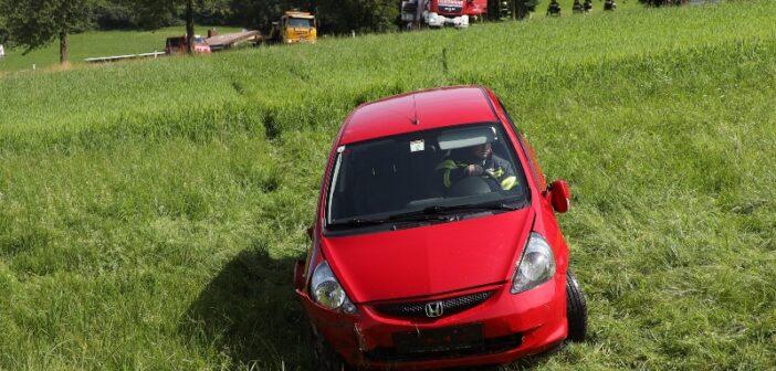 Autolenkerin landet in Bachbett